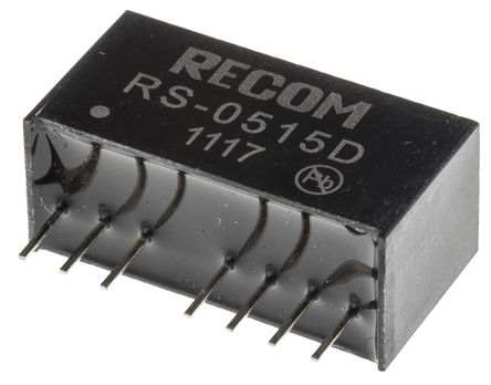Recom - RS-0515D - Recom RS 系列 2W 隔�x式直流-直流�D�Q器 RS-0515D, 4.5 → 9 V 直流�入, ±15V dc�出, ±67mA�出, 500V ac隔�x���, SIP封�b