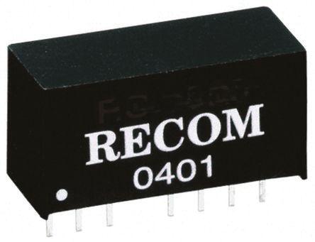 Recom - R12P215D - Recom 2W 隔离式直流-直流转换器 R12P215D, ±15V dc输出, ±66mA输出, 6.4kV dc隔离电压, 75 → 80%效能, SIP封装