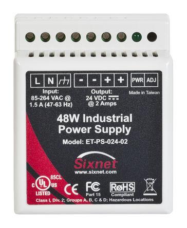 Red Lion - ET-PS-024-02 - Red Lion Sixnet Automation 系列 48W DIN 导轨电源 ET-PS-024-02, 80%效能, 264V ac输入, 0 → 2A输出, 24V dc输出 24V dc/