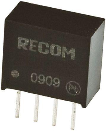 Recom - RO-0505S/E - Recom RO 系列 1W 隔离式直流-直流转换器 RO-0505S/E, 5V dc输出, 200mA输出, 1kV dc隔离电压, 84%效能, SIP封装
