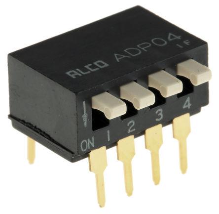 TE Connectivity - ADP0404 - TE Connectivity ADP0404 4位置 琴键式 通孔 DIP 开关, 4P, 25 mA@ 24 V 直流