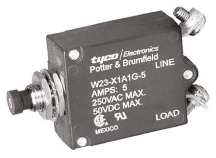 TE Connectivity - W23-X1A1G-5 - TE Connectivity W23 系列 5A 1 极 热磁断路器 W23-X1A1G-5, 50 V dc, 250 V ac