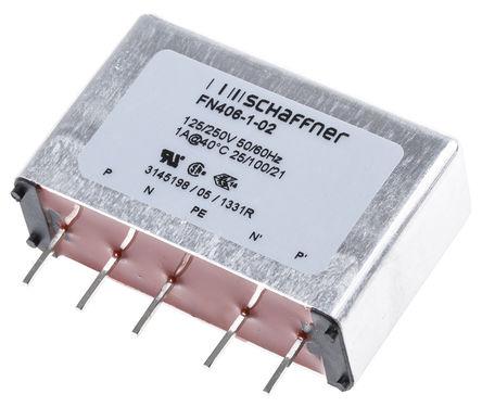 Schaffner - FN406-1-02 - Schaffner FN406 系列 1A 250 V 交流, 400Hz 通孔 RFI 滤波器 FN406-1-02, 带针接端