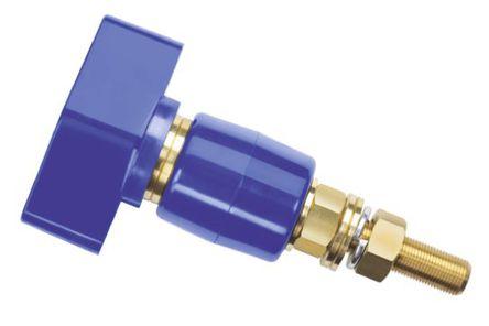 Schutzinger - POL 201 / BL - Schutzinger 4mm 蓝色 绝缘 黄铜 接线柱 POL 201 / BL, 1kV, 200A额定电流, M12 x 1 螺纹