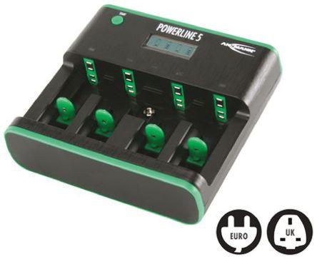 Ansmann - 5207463-UK - Ansmann 5207463-UK 1 (9V)/4 (AA)/4 (AAA)/4 (C)/4 (D) Powerline 5 LCD 镍镉/镍氢电池 电池充电器, 欧洲/英国插头