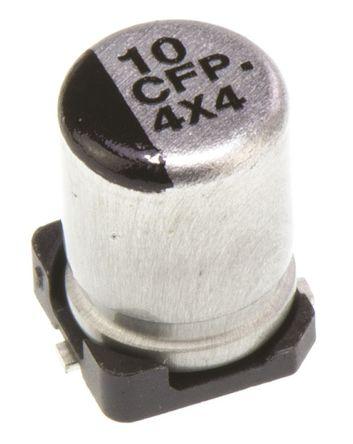 Panasonic - EEEFP1C100AR - Panasonic FP SMD 系列 16 V 直流 10μF SMD 铝电解电容器 EEEFP1C100AR, ±20%容差, 850mΩ(等值串联), 最高+105°C, B封装