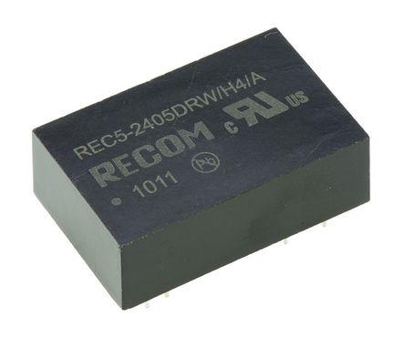 Recom - REC5-2405DRWH4/A - Recom REC5 系列 5W 隔�x式直流-直流�D�Q器 REC5-2405DRWH4/A, 18 → 36 V 直流�入, ±5V dc�出, ±500mA�出, DIP封�b
