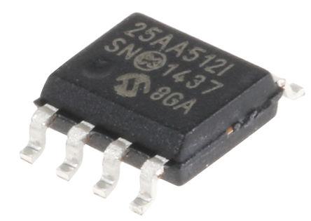 Microchip - 25AA512-I/SN - Microchip 25AA512-I/SN 串行 EEPROM 存�ζ�, 512kbit, SPI接口, 250ns, 1.8 → 5.5 V, 8引�_ SOIC封�b